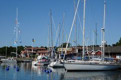 Pittoresk port av Nynashamn Arkivfoton