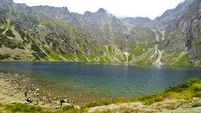 Pittoresk sikt av den Czarny Staw fröskidan Rysami i Tatra berg, Polen lager videofilmer