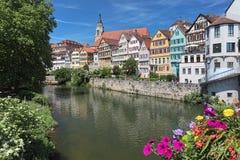 Pittoresk sikt av den historiska mitten av Tubingen, Tyskland fotografering för bildbyråer