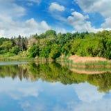 Pittoresk sjö, sommarskog på bankerna och himmel Arkivbild