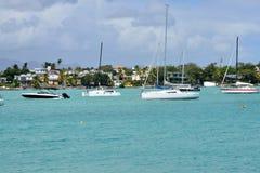 Pittoresk stad av den storslagna fjärden i Mauritius Republic Fotografering för Bildbyråer