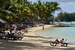 Pittoresk stad av den storslagna fjärden i Mauritius Republic Arkivfoto