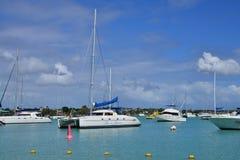 Pittoresk stad av den storslagna fjärden i Mauritius Republic Arkivbild