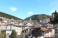 Pittoresk stad av Scanno, Central-Italien Arkivfoto