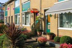 Pittoreskt bostads- hus med dekorativa växter för det Arkivbild