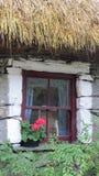 Pittoreskt gammalt lantgårdhus med blommaasken Royaltyfri Foto