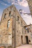 Pittoreskt hörn i Volterra, Tuscany, Italien Arkivfoto