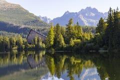 pittoreskt lakeberg Strbske Pleso höga tatras slovakia fotografering för bildbyråer