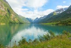 Pittoreskt landskap av den norska fjorden Arkivbilder