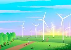 Pittoreskt landskap av en vindlantgård, ekologibegrepp stock illustrationer