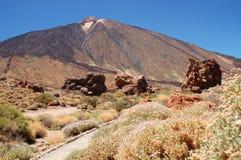 Pittoreskt landskap av teidenationalparken på tenerife Arkivbilder