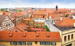 Pittoreskt landskap med Bamberg Bayern Arkivfoto