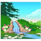 Pittoreskt landskap med en vattenfall på skogfloden Skissa av en härligt affisch eller plakat på temat av royaltyfri illustrationer