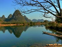 Pittoreskt landskap runt om Yangshuo i det Guangxi landskapet i Kina Royaltyfri Bild
