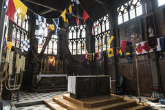 Pittoreskt litet medeltida kapell i Honfleur Normandie Royaltyfri Fotografi