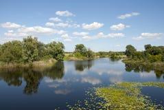 Pittoreskt mitt emot banken av floden Royaltyfri Fotografi