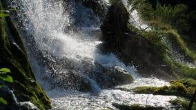 Pittoreskt vattenfalllandskap i Plitvice sjönationalpark arkivfilmer