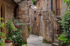 Pittoresque street in Sorano, Tuscany royalty free stock images