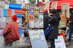 Pittori e pitture a Parigi, Francia Immagine Stock Libera da Diritti