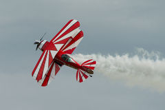 Pitts Special aerobatic aircraft. Cosford, UK - 8 June 2014: Pitts Special aerobatic aircraft, displaying at the RAF Cosford Airshow royalty free stock photos