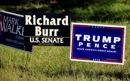 Pittsboro, NC: 2016 Election Campaign Signs Stock Images