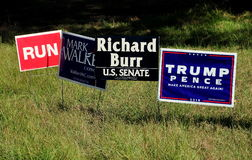 Pittsboro, NC: 2016 Election Campaign Signs Royalty Free Stock Image