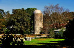 Pittsboro, NC: Farm Silo at Fearriungton Village Royalty Free Stock Photography