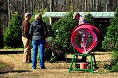 Pittsboro, NC: Paar het Kopen Kerstboom Stock Foto