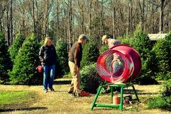 Pittsboro, NC: Paar het Kopen Kerstboom Royalty-vrije Stock Afbeeldingen
