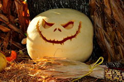 Pittsboro, NCl Halloween Pumpkin. Pittsboro, North Carolina - October 30, 2016: A carved jack-o-lantern with eerie smile at the annual Fearrington Village royalty free stock photos