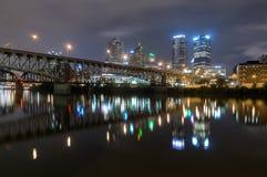 Pittsburg Cityscape. The nightime skyline of Pittsburg Pennsylvania Stock Image