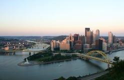 Pittsburgh al tramonto Fotografie Stock