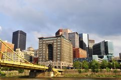 Pittsburgh Bridge and Buildings Stock Photos