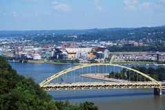 Pittsburgh bridge and Heinz Field Stock Photos
