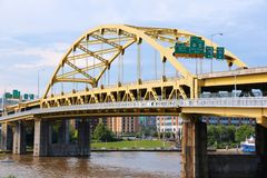 Pittsburgh bridge. Pittsburgh, Pennsylvania - city in the United States. Fort Duquesne bridge over Allegheny River. Double-decked Bowstring Arch bridge Royalty Free Stock Images