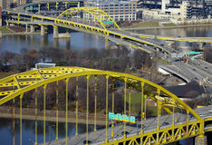 Pittsburgh Bridges. High Shot of Bridge Traffic on the Fort Pitt Bridge and Fort Duquesne Bridge in Pittsburgh Stock Photography
