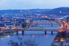 Pittsburgh, City of Bridges. Fort Duquesne and other bridges span Allegheny river between Pittsburgh downtown and North Shore Royalty Free Stock Photos