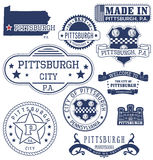 Pittsburgh city, PA, generic stamps and signs. Pittsburgh city, Pennsylvania. Set of generic stamps and signs Royalty Free Stock Photos