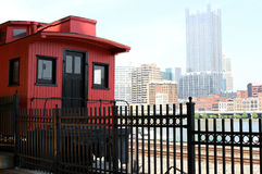 Pittsburgh City Rail Train. Red Vintage Train at Pittsburg Stock Photography
