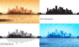 Pittsburgh city skyline silhouettes set Stock Photo