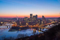 The pittsburgh city skyline at sunrise in pennsylvania Royalty Free Stock Images