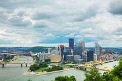Pittsburgh cityscape with the Ohio river. On a cloudy day royalty free stock image