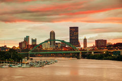 Pittsburgh cityscape with the Ohio river Royalty Free Stock Images