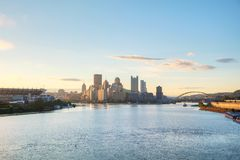 Pittsburgh cityscape with the Ohio river. In the morning royalty free stock photos