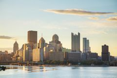 Pittsburgh cityscape with the Ohio river. In the morning Stock Images