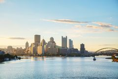 Pittsburgh cityscape with the Ohio river. In the morning stock photos