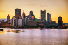 Pittsburgh cityscape with the Ohio river. In the morning stock photo