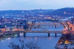 Pittsburgh, ciudad de puentes Fotos de archivo libres de regalías