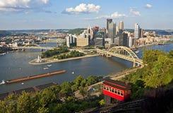 Pittsburgh con la pendenza di Duquesne Fotografia Stock Libera da Diritti