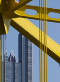 Pittsburgh Detail. Pittsburgh Glass Building Behind Bridge Cables Stock Images